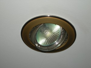 Fitted Antique brass downlighter